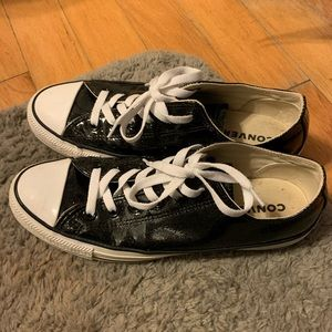 Women's low top patent sparkly black Converse